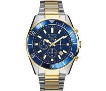 Marine Star 98B230 - Herren Designer-Armbanduhr - Armband aus Edelstahl - wasserdicht - Blau/Goldfarben