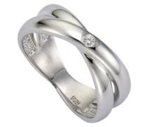 Diamonds Damen-Ring 925 rhodiniert Diamant (0.03 ct) weiß Brillantschliff