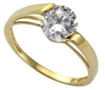 Damen-Ring 9 Karat (375) Gelbgold Zirkonia weiß