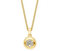 Damen-Kette mit Anhänger gelbvergoldet veredelt mit Swarovski Kristallen, 42+3 cm längenverstellbar