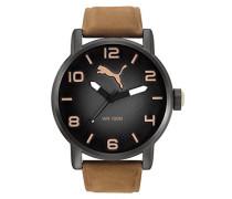 Herren Armbanduhr Datum klassisch Quarz Leder PU104141004