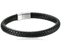 Armband Kobra Schwarzes italienisches Leder und Verschluss aus Sterling-Silber 925