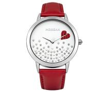 –m1223r-a Damen-Armbanduhr–Quarz Analog–Weißes Ziffernblatt–Armband Leder Rot