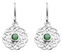 Ohrhänger aus Sterling-Silber mit Knotenmuster und künstlichen Diamanten, Grün