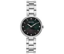 Diamond 96S173 - Damen Designer-Armbanduhr - Edelstahl - schwarzes Perlmutt-Zifferblatt