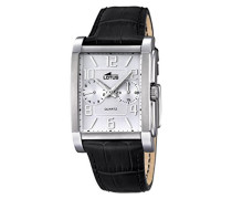 Herren Quarz-Uhr mit weißem Zifferblatt Analog-Anzeige und schwarz Lederband 18221/1