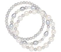3-er Damen-Armband Set elastisch Hochwertige Süßwasser-Zuchtperlen in ca. 5-8 mm Oval weiß / silbergrau 19 cm - Perlenarmbänder mit echten Perlen grau weiss 60020050
