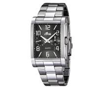 Herren-Quarzuhr mit schwarzem Zifferblatt Analog-Anzeige und Silber Edelstahl Armband 18220/4
