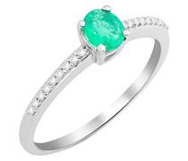Damen Solitär-Ring, 9 Karat Weißgold, Smaragd - 52 (16.6)