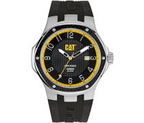 Men'Cat Navigo Carbon-Datum Herren Quarzuhr mit schwarzem Zifferblatt Analog-Anzeige und Schwarz-Silikon-Bügel A5.141.21.111