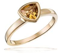 Damenring golden triangle 375 Gelbgold 1 Citrin gelb Trilion 6x6 mm