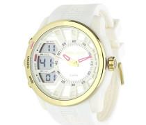 Police Tactical Herren Digitale Armbanduhr mit weißem Zifferblatt Analog-Digital Display und weiß Rubber Strap 14249jpwg/04