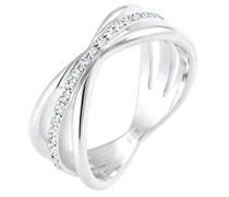 Premium Damen-Ring Wickel 925 Silber rhodiniert Swarovski Kristalle weiß Rundschliff