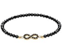 Damen-Armband Infinity Unendlichkeit 925 Silber mit Swarovski Kristallen schwarz 18 cm 0211871114-18