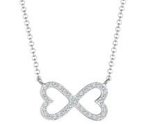 Damen-Kette mit Anhänger Herz 925 Silber Swarovski Kristalle Brillantschliff 45 cm - 0101783117_45