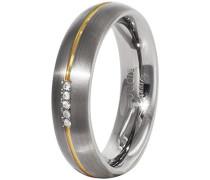 Unisex-Ring You and me Titan teilvergoldet Diamant (0.025 ct) weiß Brillantschliff