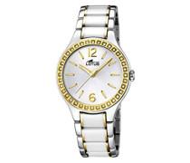 Lotus Damen Quarzuhr mit weißem Zifferblatt Analog-Anzeige und Weiß Keramik Armband 15933/3