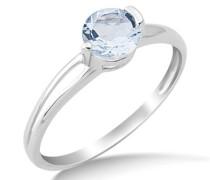 Miore Damen-Ring mit Aquamarin 9 Karat 375 Weißgold Gr. 58 (18.5) MG9087R8