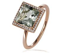 Ring Amethyst 375 Rotgold grün Quadratschliff Diamant (0.12 ct) - Fa R6096RG