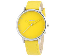 Nixon Damen-Armbanduhr Kensington Yellow Mod Analog Quarz Leder A1081806-00