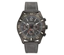 Nautica Herren-Armbanduhr XL Chronograph Quarz Leder A18720G