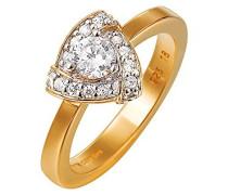 Damen-Ring 925 Sterling Silber rhodiniert Glas Zirkonia Montrer weiß
