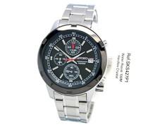 Seiko-Sks427p1-Armbanduhr-Quarz Chronograph-Zifferblatt schwarz Armband Stahl Grau