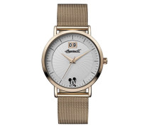 Disney Women's Union Quartz Watch with Weiß Dial and Rose Gold Stainless Steel Bracelet ID00504