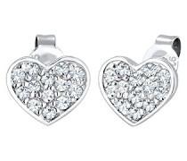 Damen-Ohrstecker Herz 925 Silber weiß Facettenschliff - 0302940217