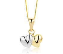 Kinder-Halskette Doppelherzchen 585 40cm Gelb-/Weißgold MK043P