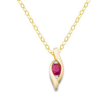 Damen-Halskette 18 Karat (750) Gelbgold Rubin Anhänger mit Brillanten 45cmMH8001N