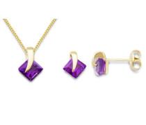 Miore Damen-Set: Halskette + Ohrringe Amethyst 9 Karat 375 Gelbgold MSET013