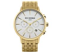 Ben Sherman Herren Quarz-Uhr mit weißem Zifferblatt Analog-Anzeige und Gold Edelstahl Armband wb028gma