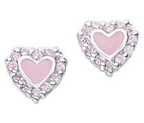 Prinzessin Lillifee Kinder-Ohrstecker Herz Mädchen 925 Silber rhodiniert Zirkonia rosa