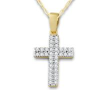 Miore Damen-Halskette mit Anhänger Zirkonia 9 Karat 375 Gelbgold 45cm MA9049ZN