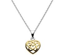 Halskette Sterling Silber und Gold Plate Keltisches Herz Knoten BA919021015045,7cm