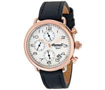 Quarz Balfour Herren Armbanduhr mit silber Zifferblatt Chronograph-Anzeige und schwarz Lederband INQ008SLRS