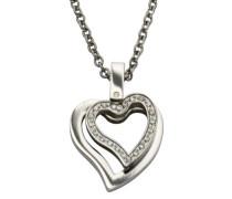 ZEEme Damen-Halskette mit Anhänger 45cm Motiv Herz Zirkonia weiß 500043749-45