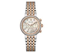 Bulova Damen-Armbanduhr Diamonds Analog Quarz Edelstahl 98W215