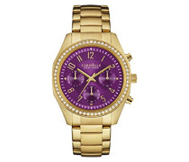 Caravelle New York Damen-Armbanduhr BOYFRIEND Chronograph Quarz Edelstahl beschichtet 44L197
