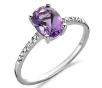 18 Karat (750) Weigold 56 (17.8) Damenring, mit amethyst und 12 (0,07 cts) Diamanten M0524WP