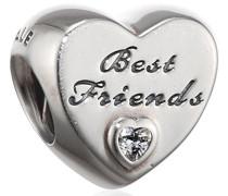Damen-Bead Best Friends-Herz 925 Silber Zirkonia transparent - 791727CZ