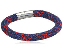 men Herren Armband mit Magnetschließe 925 Silber rhodiniert Paracord blau rot 21 cm