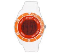 –J93491–17–Bubble–Armbanduhr–Quarz Digital–Zifferblatt Orange Armband Kautschuk weiß