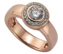 Damen-Ring 925 Sterling Silber Zirkonia  Silver weiß rotvergoldet