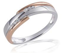Damen-Ring 925 Sterling Silber weiß Diamanten Diamanten 0,07 ct.
