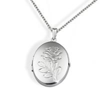 Damen-Halskette Medallion 925 Sterlingsilber oval mit Blumenmuster Kettenanhänger Schmuck