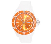 –J83491–17–Bubble–Armbanduhr–Quarz Analog–Zifferblatt Orange Armband Kautschuk weiß