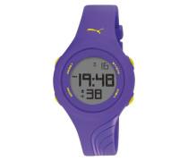 Puma Twist S Unisex Digital Uhr mit LCD Dial Digital Display und Violett PU Gurt pu911092004