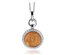 Damen-Anhänger mit Kette 925 Silber rhodiniert Zirkonia gold Brillantschliff - ZH-4820/1